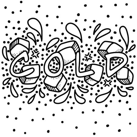 The word cold is drawn on background of ice, splashes and decorative elements. Monochrome design. Doodle lettering vector composition.