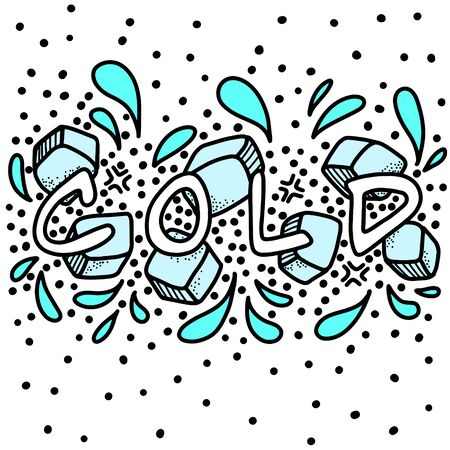 The word cold is drawn on background of ice, splashes and decorative elements. Combination of blue and white colors. Doodle lettering vector composition.