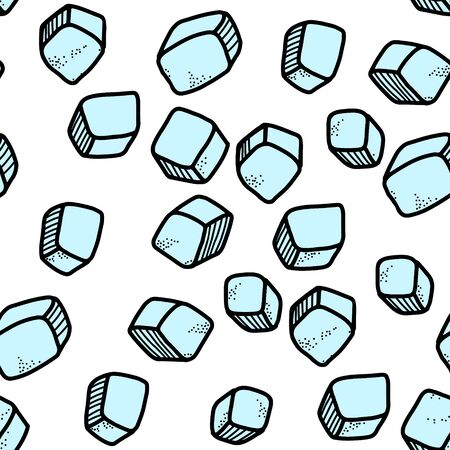 Frosty vector seamless pattern. Ice cubes are scattered all over the background. Doodle elements, cartoon style, suitable for design and decoration