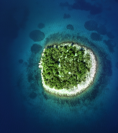 murter: Island in front of Jezera on island of Murter, aerial view