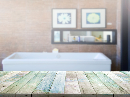 luxury apartment: top wood table with Blur Background