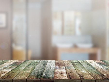 living room interior: top wood table with Blur Background