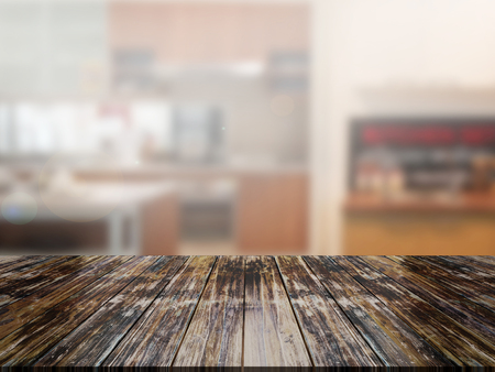 top wood table with Blur Background