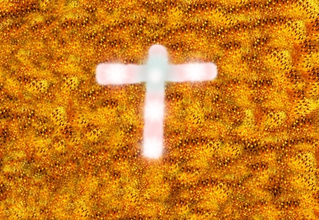 Jesus , cross on nature area. Stock Photo