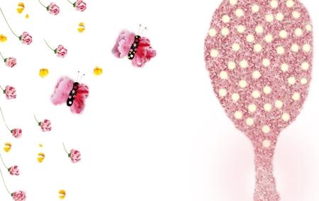 flower backgrounds ,butterflies & lamp pink tree.