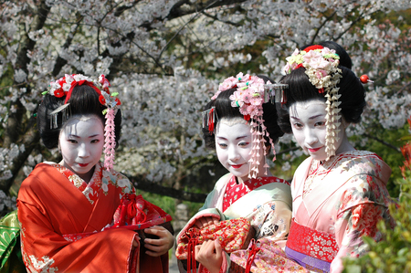 Kamishichiken Kyoto, Japan-April 03,2009 Maiko has attent to Baika-sai Festival also Baien Ume Garden