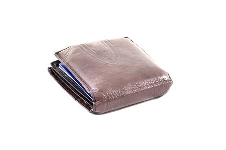 spending full: The Used wallet contian with blue card Stock Photo
