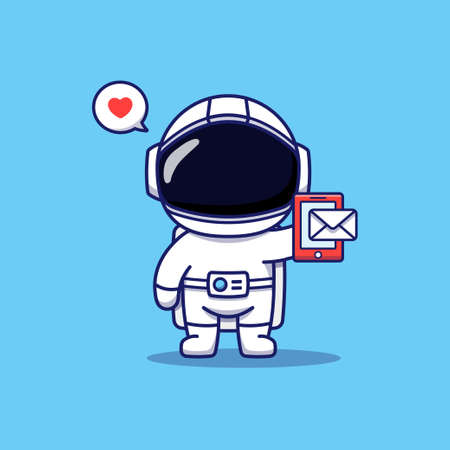 Cute astronaut receiving a message on his smartphone