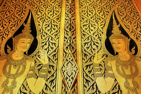 Traditional Thai Style Art on Temple Window Bangkok,Thailand
