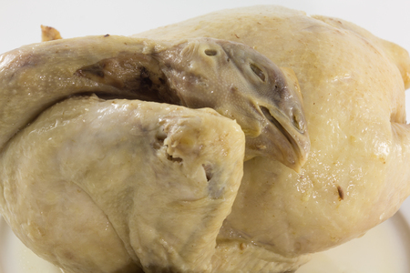 entrails: Boiling Chicken with Entrails in isolate background.