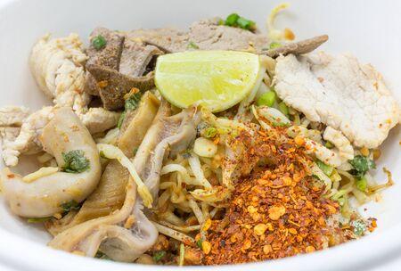 entrails: Spicy noodle serve with entrails.