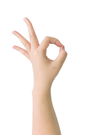 ok sign: Hand sign with OK gesture Stock Photo