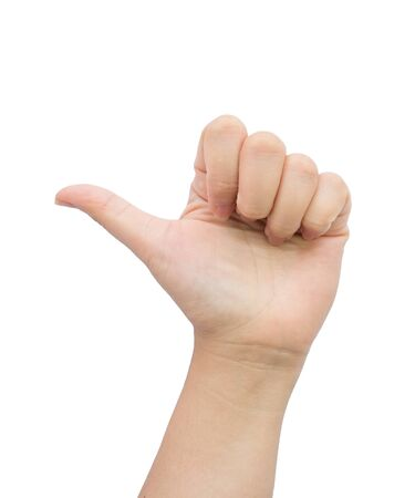 thump: Female hand with thump up on isolated background. Stock Photo