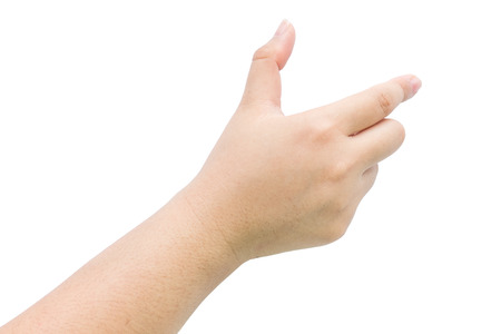 Female hand with holding gesture isolated on white background 版權商用圖片