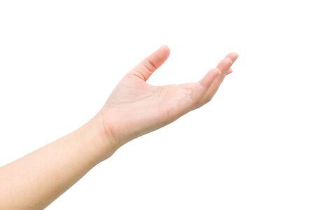 Vrouw hand met gebaar op een achtergrond.
