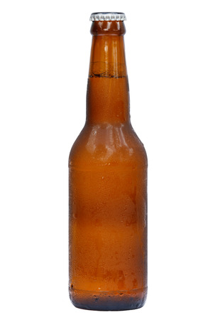 international beer: Bottle of cool beer for international beer day with isolated background. Stock Photo