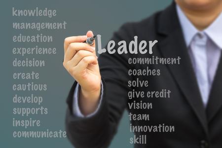 lider: Empresaria escrito concepto de relaci�n l�der. Foto de archivo