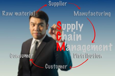 scm: Blurred Businessman writing Supply Chain Management (SCM) concept. Stock Photo