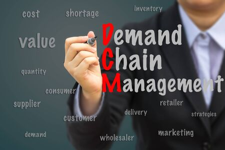 demand: Businesswoman write Demand Chain Management (DCM) relation concept.