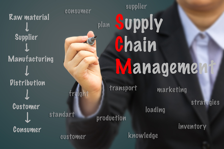 scm: Businesswoman writing Supply Chain Management (SCM) concept.