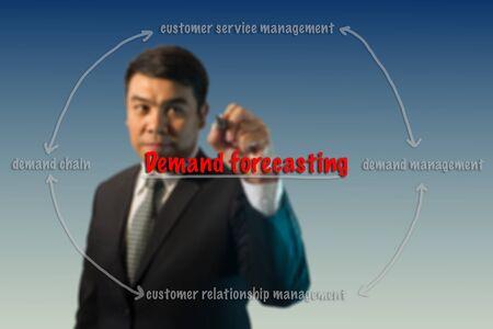 forecasting: Businessman write demand forecasting relation concept.