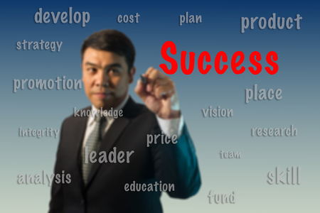 sucess: Blurred businessman writing sucess concept.