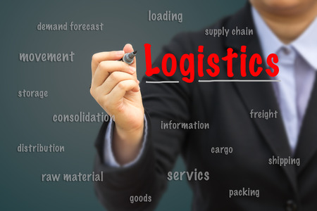 Businesswoman write Logistics relation concept.