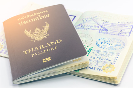 customs official: Thailand passport and visas. Stock Photo