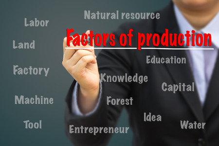 Businessman writing Factors of production concept. 스톡 콘텐츠