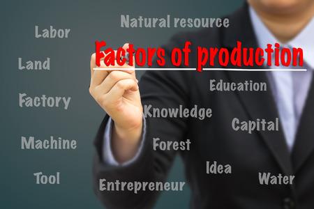 factors: Businessman writing Factors of production concept. Stock Photo