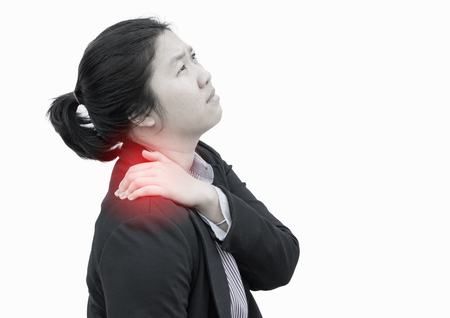 working stiff: Businesswoman deeply pained on shoulder : Office syndrome effect.