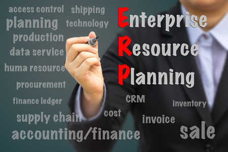 Businessman writing ERP concept. 스톡 콘텐츠