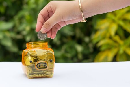 money concept: Saving money concept with blurred background. Stock Photo
