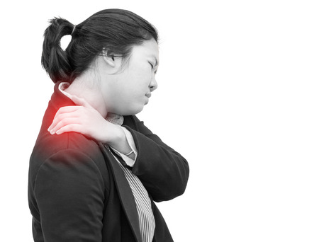 deeply: Businesswoman deeply pained on shoulder : Office syndrome effect.