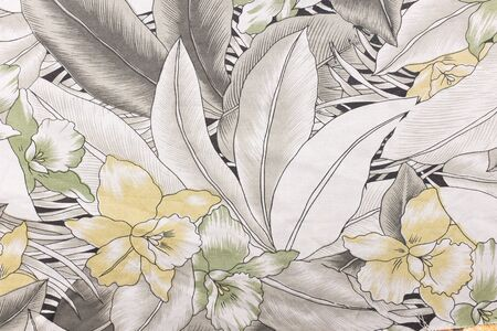 grey pattern: Fabric with flower pattern texture and background. Stock Photo