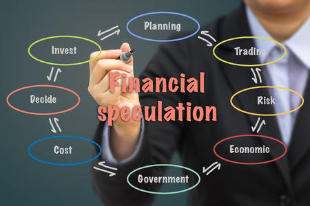 speculation: Businessman writing Financial speculation relation concept. Stock Photo