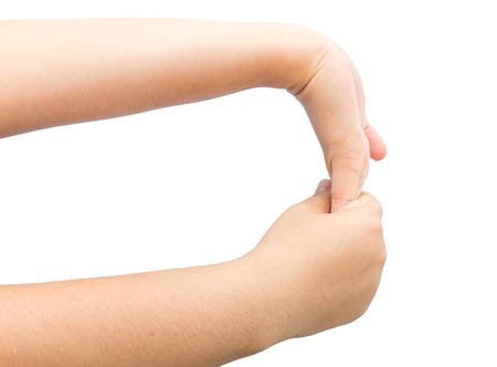 Flexing muscle on hand for heal office syndrom on isolated background.