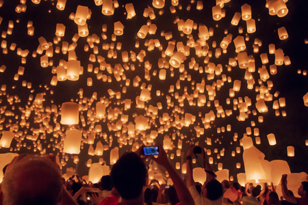 chaingmai: Blurred floating lantern or Yeepeng festival at Chaingmai province, Thailand.