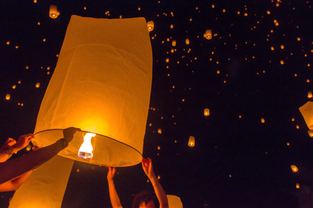 yeepeng: Blurred floating lantern or Yeepeng festival at Chaingmai province, Thailand.