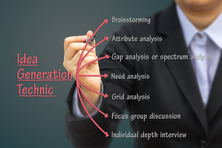 idea generation: Businessman writing Idea generation technic. Can use for your business concept background.