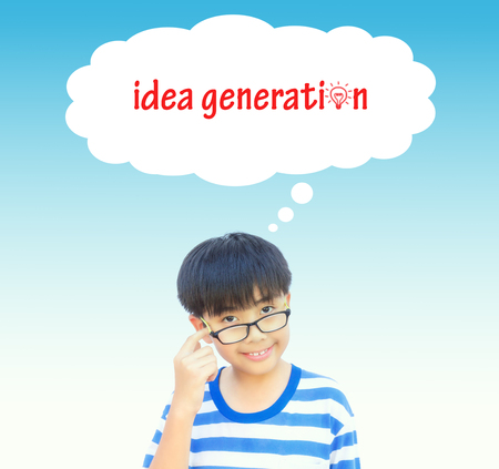 conjecture: Boy thinking idea generation concept on vintage tone. Stock Photo