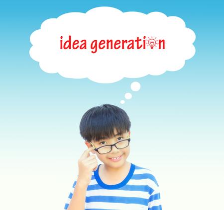 idea generation: Boy thinking idea generation concept on vintage tone. Stock Photo
