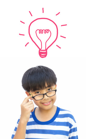 speculate: Boy thinking with bulb idea and concept on isolated background.