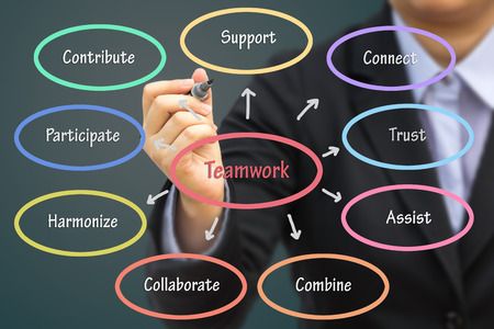 harmonize: Businessman writing Teamwork concept. Can use for your business concept background. Stock Photo