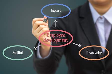 basic scheme: Businessman writing Employee development concept. Can use for your business concept background.