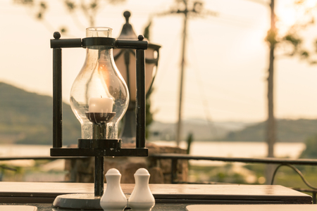 salt lamp: Outdoor lamp with copy space and vintage tone. Stock Photo