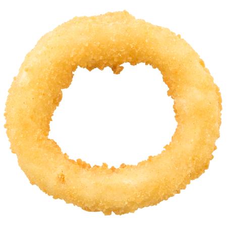 Profunda anillo de cebolla frita en el fondo aislado.