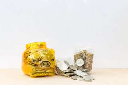 Piggy bank with copy space on white background : Can use for your financial concept background.