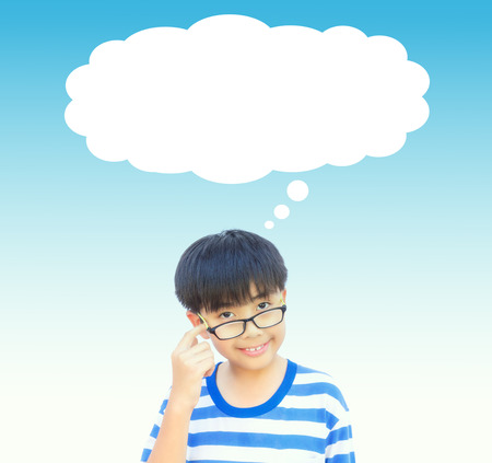 approximate: Boy thinking with empty space idea and concept on vintage tone.