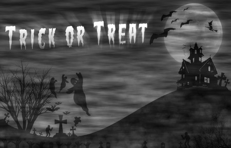 Halloween design : Landscape horror with Trick or Treat message for background.